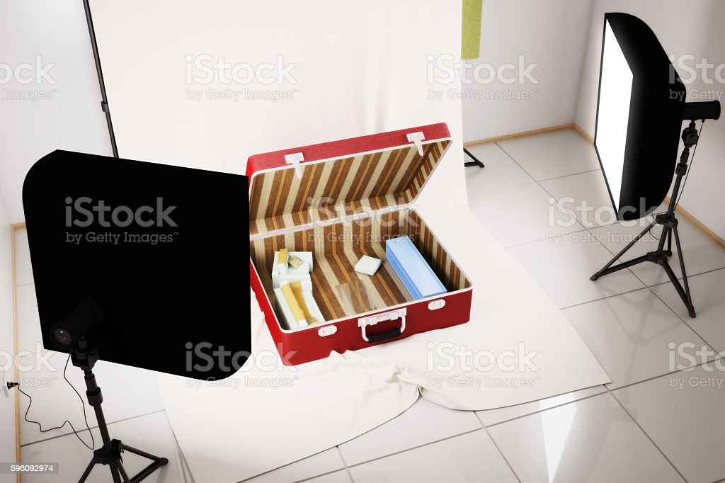 Interior living room inside a suitcase. 3d illustration royalty-free stock photo