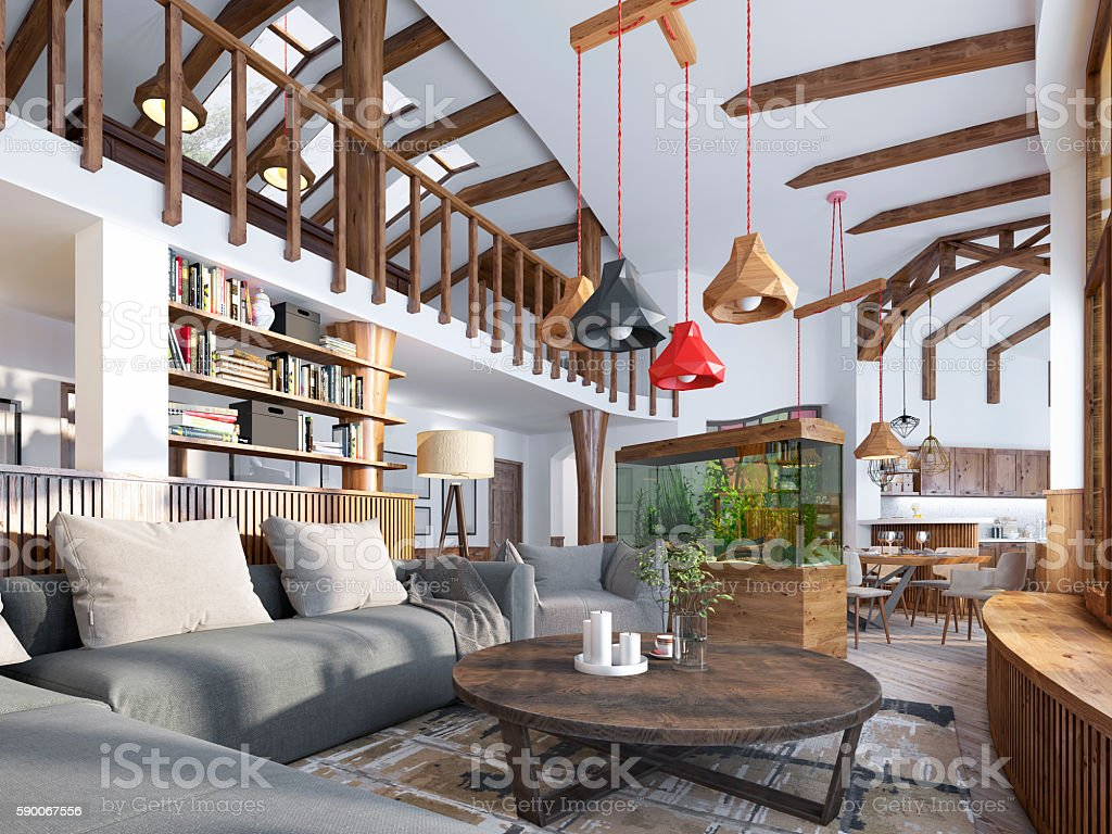 Interior Living Room Loft Style Maisonette A Modern Living ...