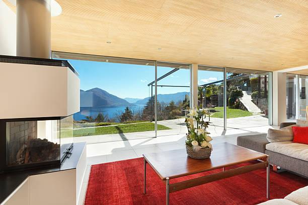 innenansicht, wohnzimmer - veranda decke stock-fotos und bilder