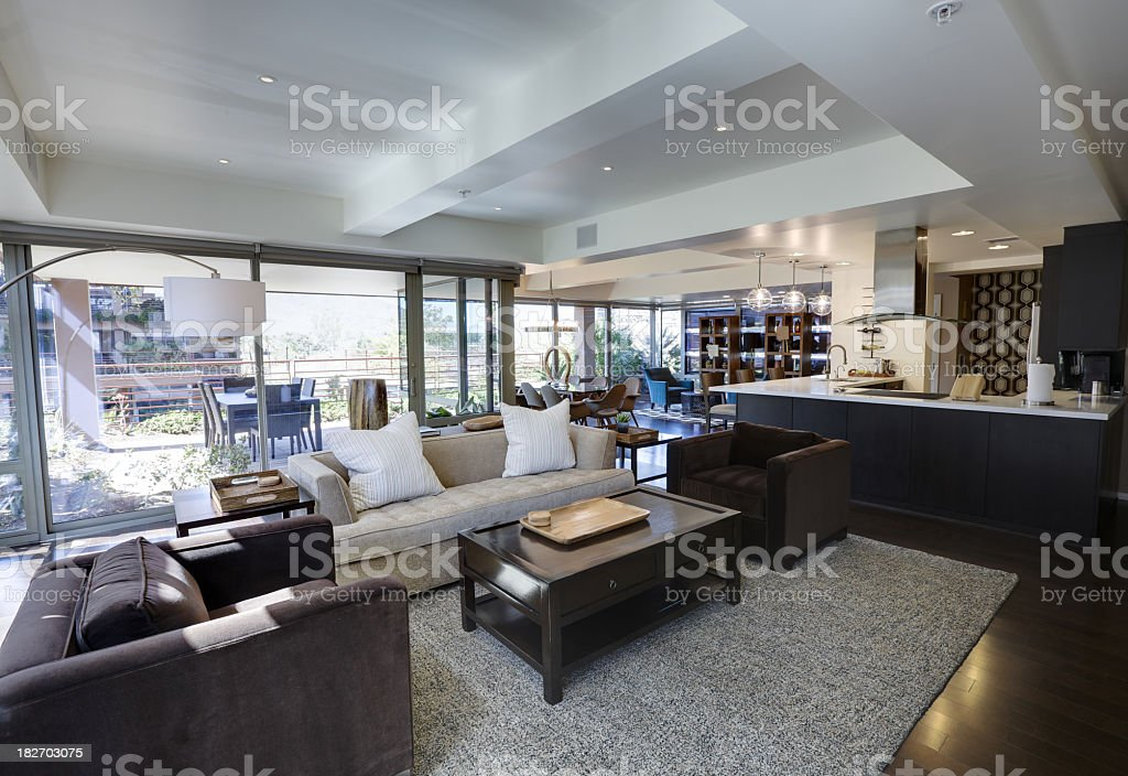 Interior Living Room Space Of A Beautiful Modern House Stock ...
