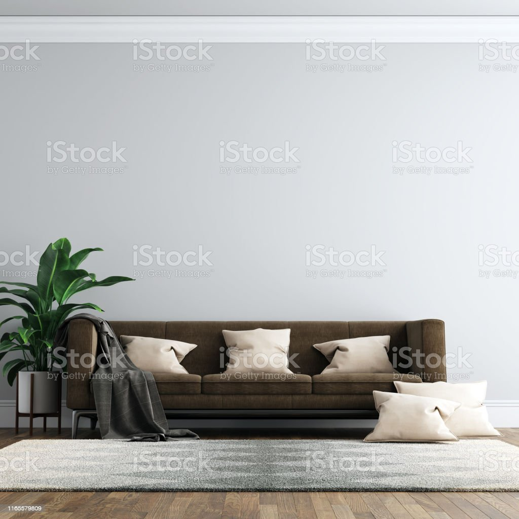 Interior Living Room Wall Mock Up Background Stock Photo