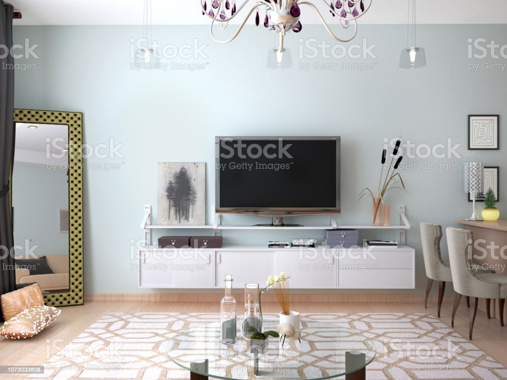 Interior Living Room With Tv On The Wall 3d Illustration Stock Photo Download Image Now Istock