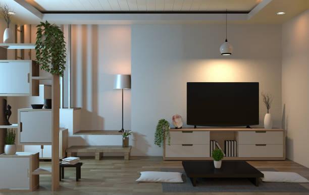 スマートテレビと装飾スタイルの和風のインテリアリビングルーム禅スタイル。3d レンダリング - ソファ 無人 ストックフォトと画像