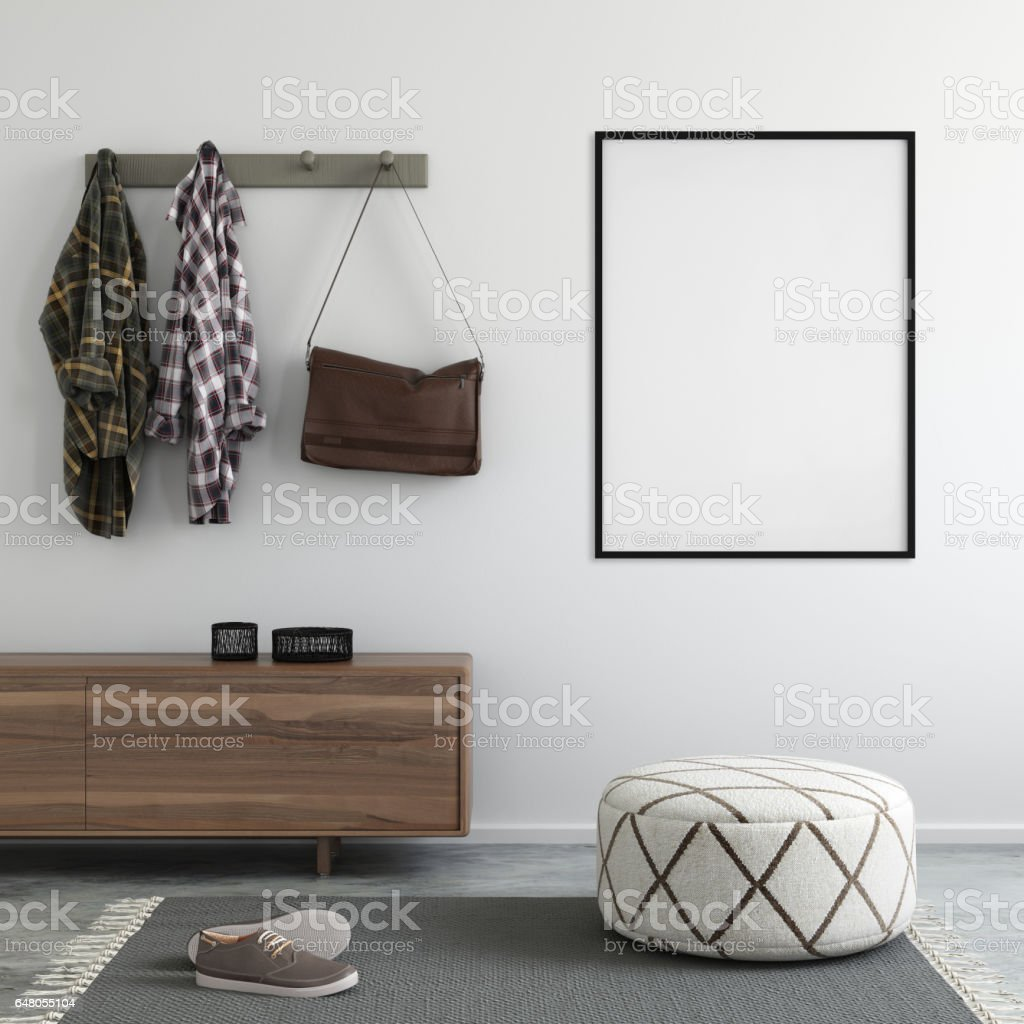 interior loft entrance with poster frame template stock photo