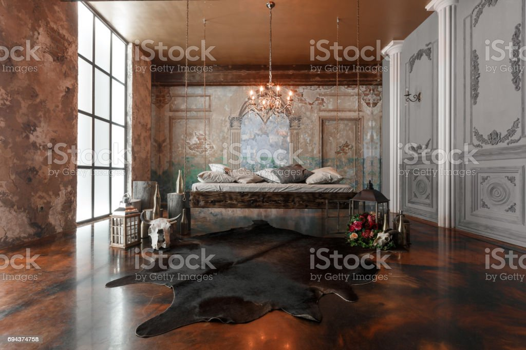 Interior loft with hanging bed in modern design stock photo