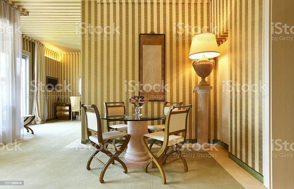 interior luxury apartment, comfortable dining room royalty-free stock photo