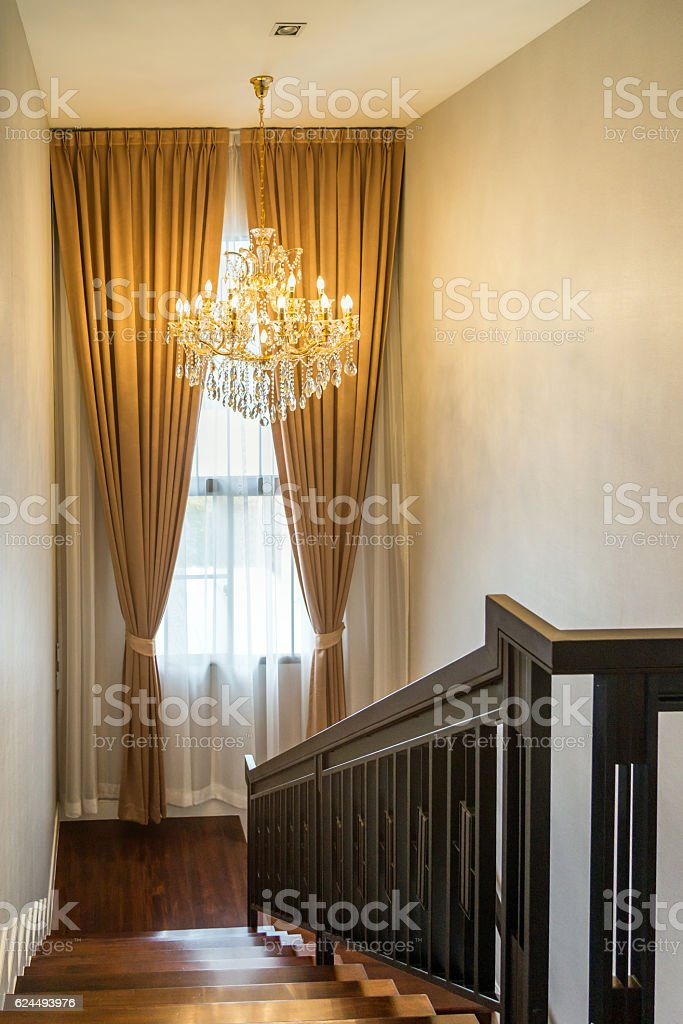interior luxury home - railing, chandelier and curtain – Foto