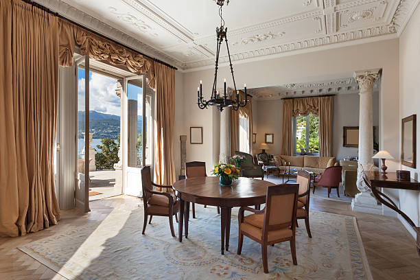 interior, luxury living room - classical style stock photos and pictures