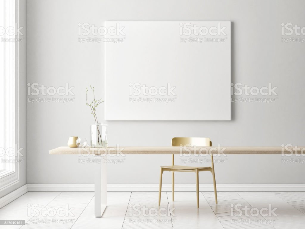 Inneren Minimalismus Konzeption mit Mock-up Poster, – Foto