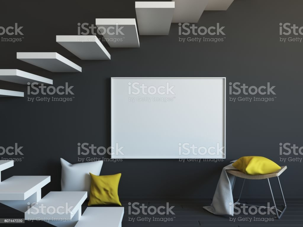 Interior mockup 3d stock photo