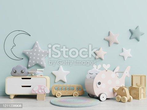1208254898 istock photo Interior mockup, kids room, wall frame mockup,nursery mockup. 1211238906