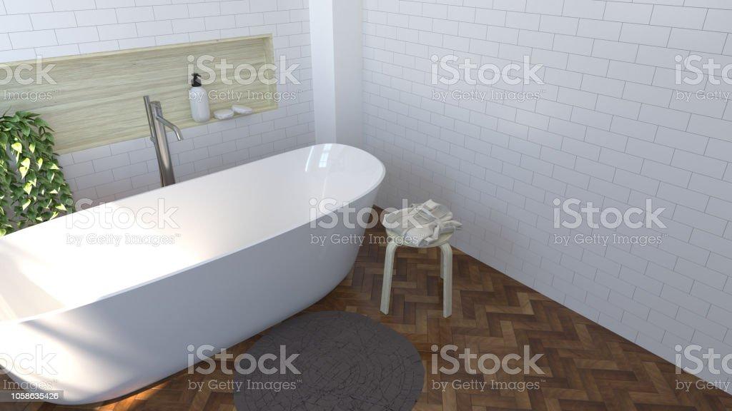 Innen Modernes Badezimmer Design Holzboden Toilette Dusche ...