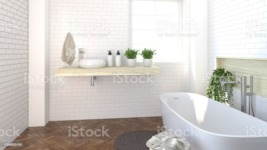 Diseño De Interiores Moderno Cuarto De Baño Aseo Ducha Lavabo ...