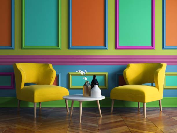 moderne innenarchitektur raum 3d illustration - farbenfroh stock-fotos und bilder