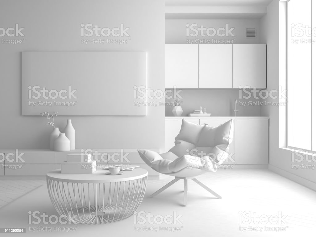 Interior modern design room 3D illustration stock photo