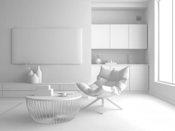 interior modern design room 3d illustration - three dimensional stock photos and pictures