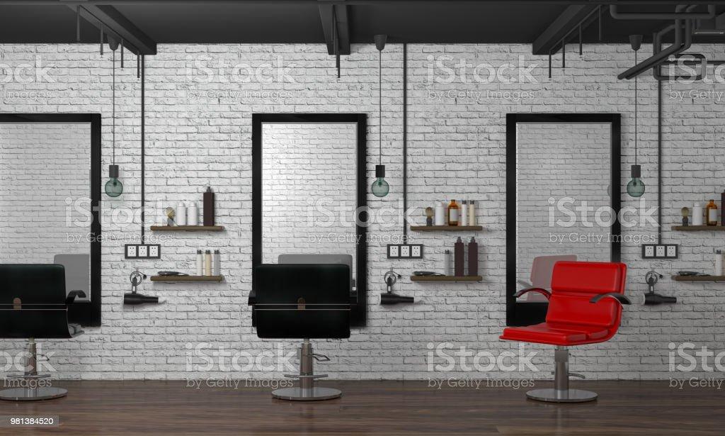 Innen Modern Hair Salon 3dillustration Leeren Friseur Mit ...