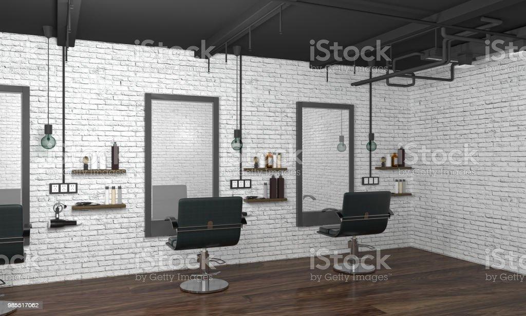 インテリア モダンな髪サロン 3 D イラスト空椅子美容室白いレンガの壁で美容院 からっぽのストックフォトや画像を多数ご用意 Istock