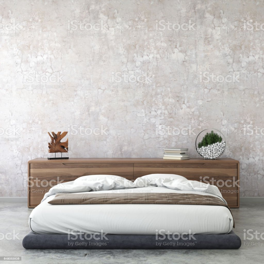 Interior Modern Hipster Bedroom Wall Template Stock Photo Download Image Now Istock