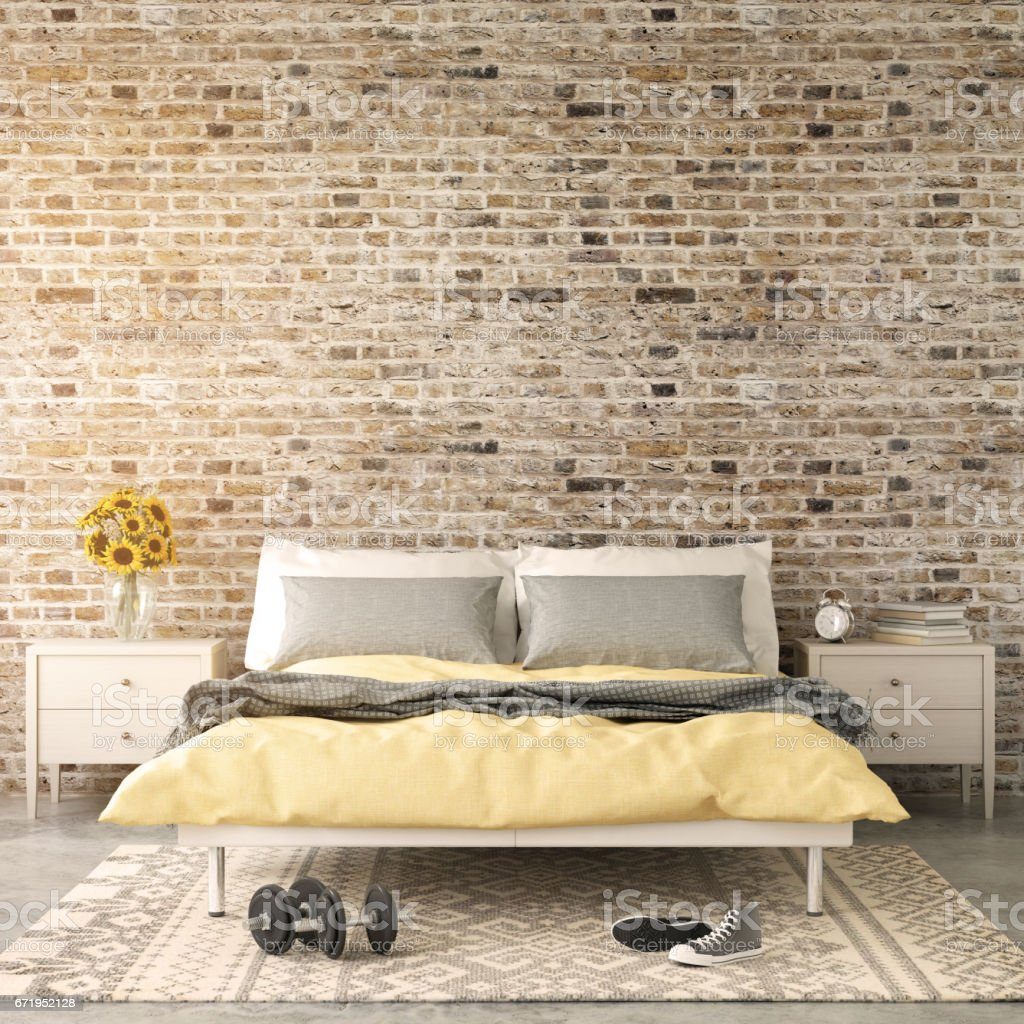 Interior Modern Hipster Bedroom Wall Template Royalty Free Stock Photo