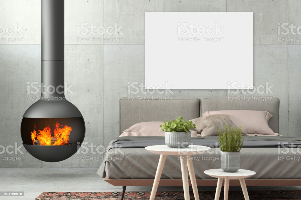 Interior Modern Hipster Bedroom Wall Template With Fireplace Royalty Free Stock Photo