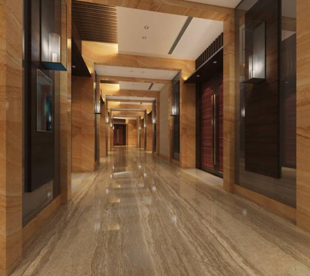 interior modern hotel corridor 3d illustration - hotel reception zdjęcia i obrazy z banku zdjęć