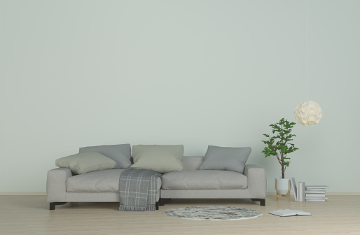Interior Modern Living Clean Wallsofa On Wood Floorcarpet And Hanging Lamps  In The Living Room 3d Rendering Stock Photo - Download Image Now
