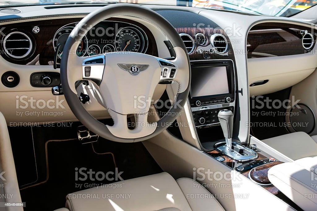 Interior of a 2014 Bentley Continental Flying Spur stock photo