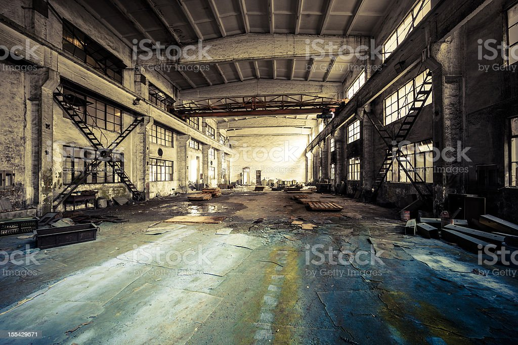 Interior of a Abandoned Factory stock photo