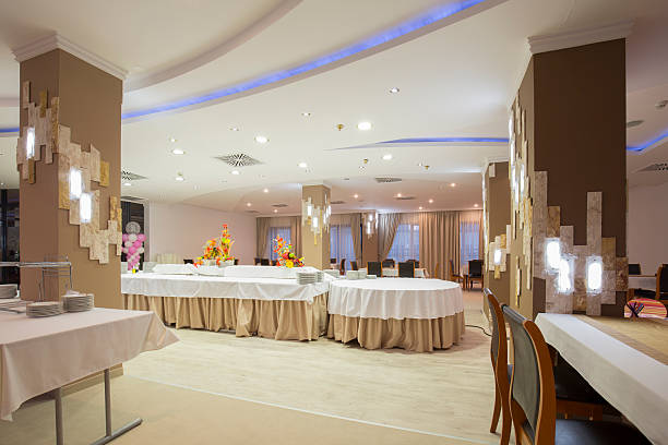 Interior of a banquet hall stock photo
