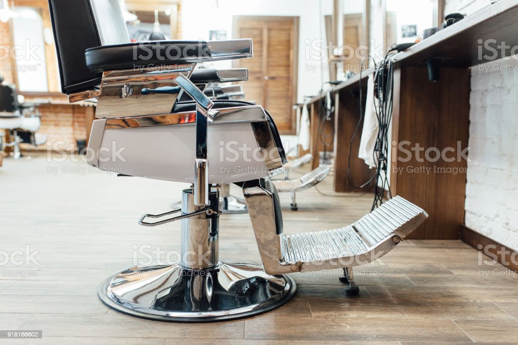 interior of a barber in a loft style stock photo