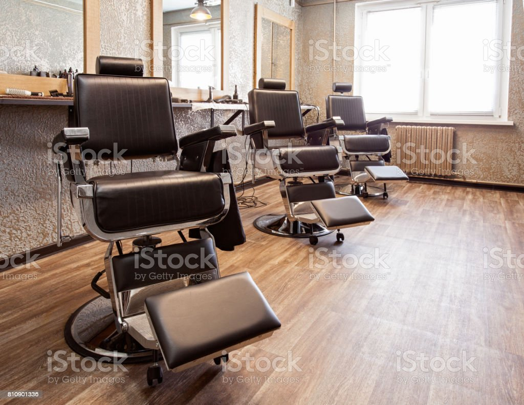Interior of a barbershop stock photo