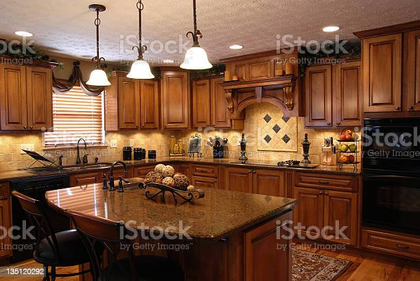 Interior Of A Beautiful Custom Kitchen Stock Photo - Download Image Now