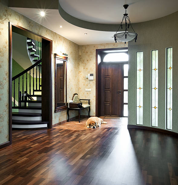 Interior of a beautiful home with a sleeping dog stock photo