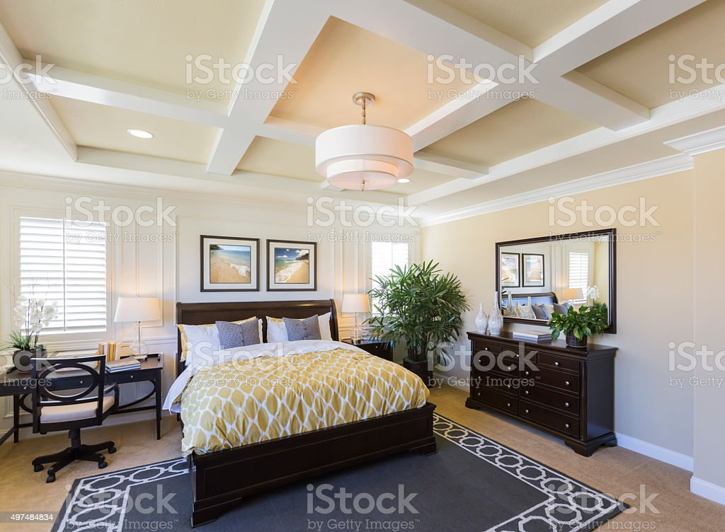 Interior of A Beautiful Master Bedroom stock photo