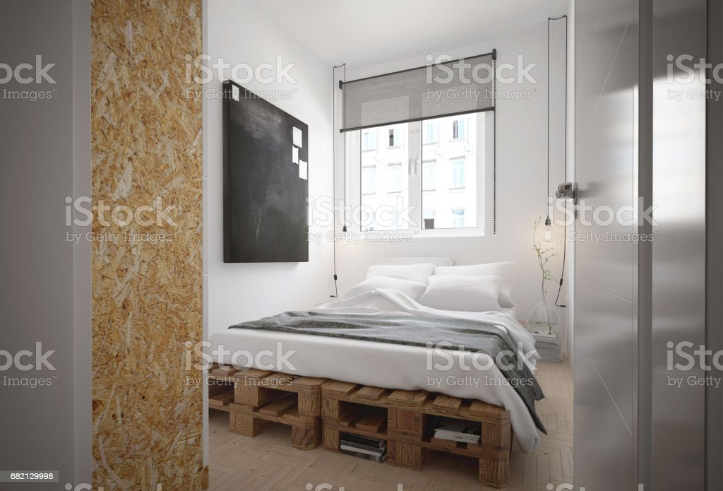 Interior Of A Bedroom In A Industrial Style Stock Photo Download Image Now Istock