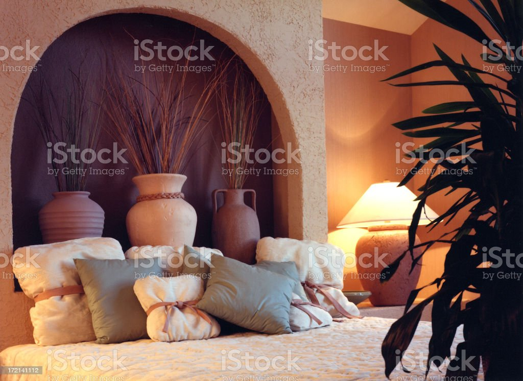 Interior of a Bedroom with a Southwest Design and Decor royalty-free stock photo