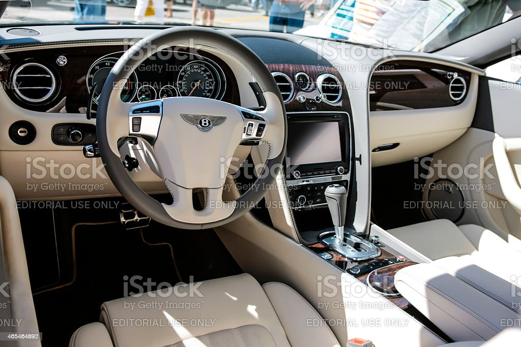 Interior of a Bentley Flying Spur stock photo