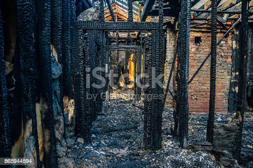 istock Interior of a burnt by fire apartment in an apartment building. Burned wooden beams 865944594