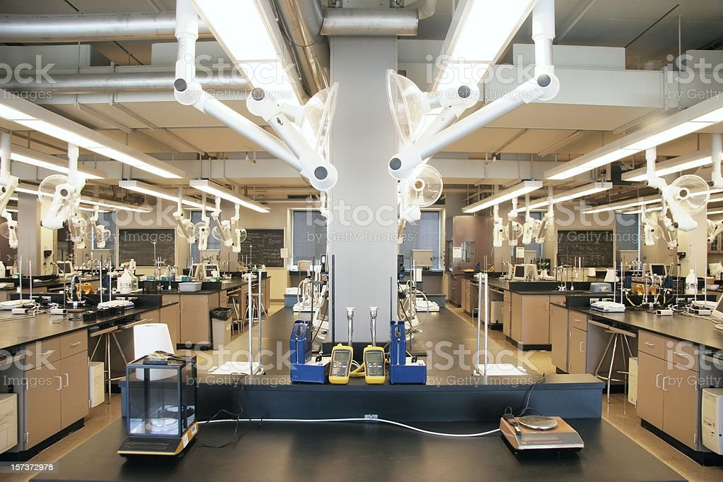 Interior of a chemistry lab with machinery and equipment stock photo