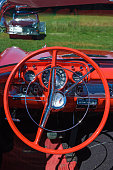 Falkoping, Sweden - July 26, 2014: Interior of a classic Chevrolet Bel Air Convertible at a car show