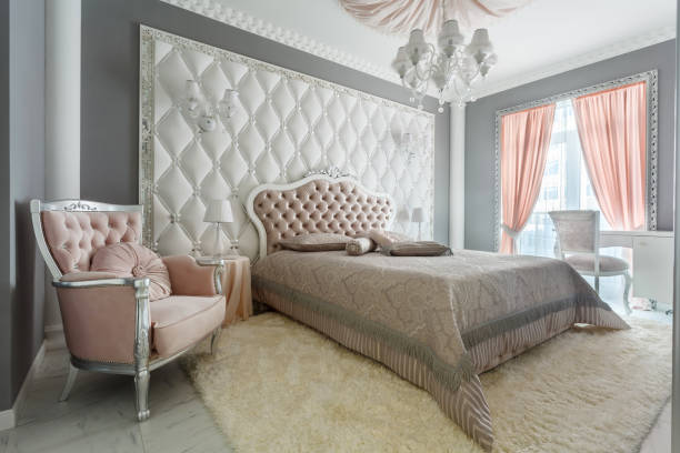 Interior of a classic style bedroom in luxury house stock photo
