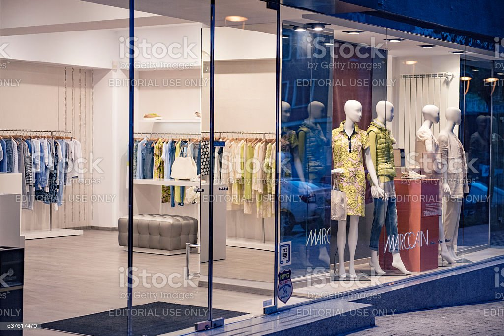 Interior of a clothing store in Bucharest city center. stock photo
