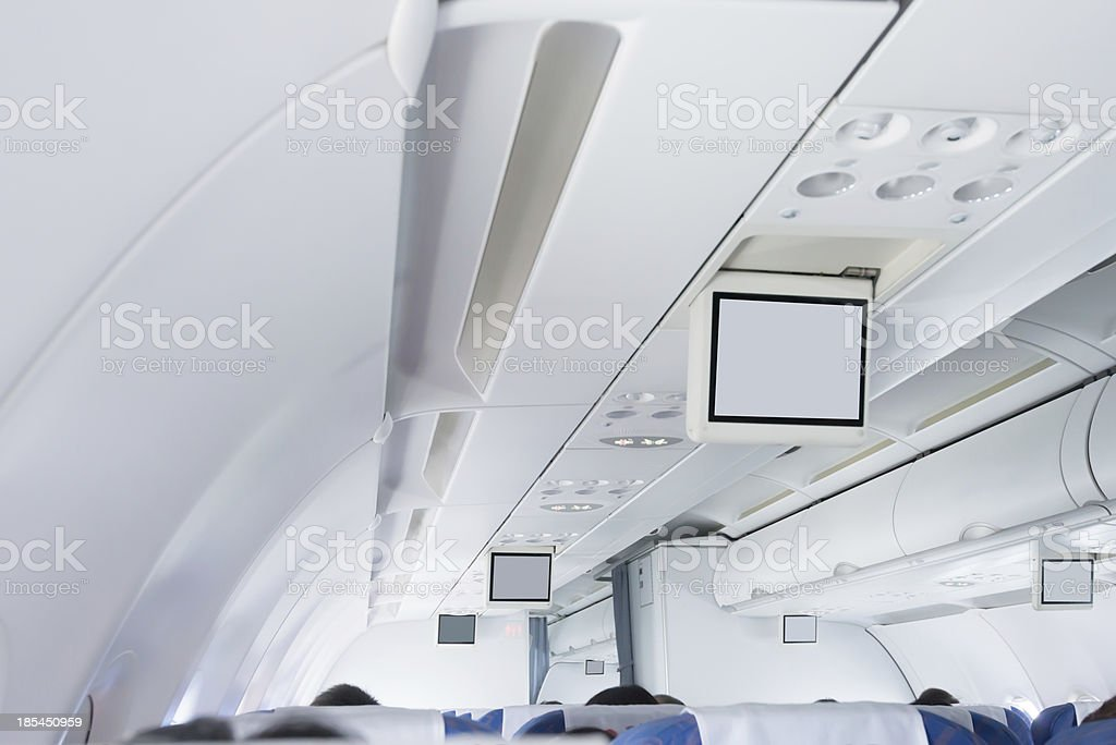Interior of a commercial airplane royalty-free stock photo