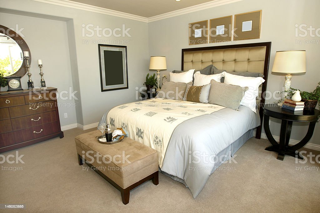 Interior of a contemporary bedroom stock photo