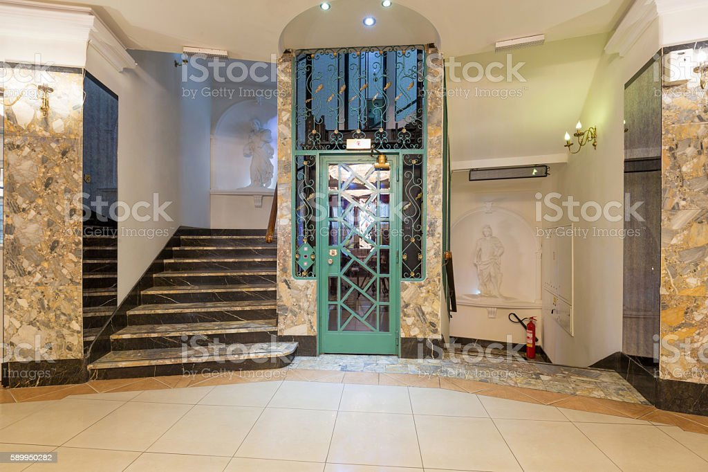 Interior Of A Corridor With Passenger Lift And Marble Stairs Stock Photo Download Image Now Istock
