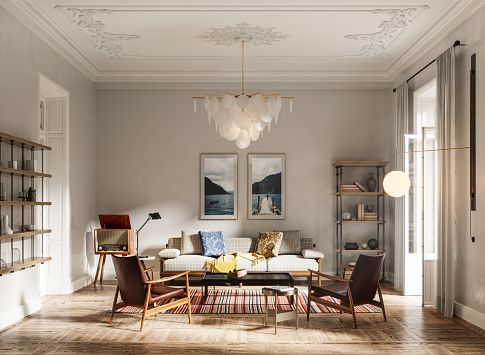 Interior of a domestic room in 3d render. Computer generated image of living room with sofa set, arms chairs, wall paintings and beautiful chandelier.