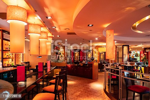 Dubai, Luxury, Fine Dining - Elegantly decorated interior of a fine dining Indian restaurant