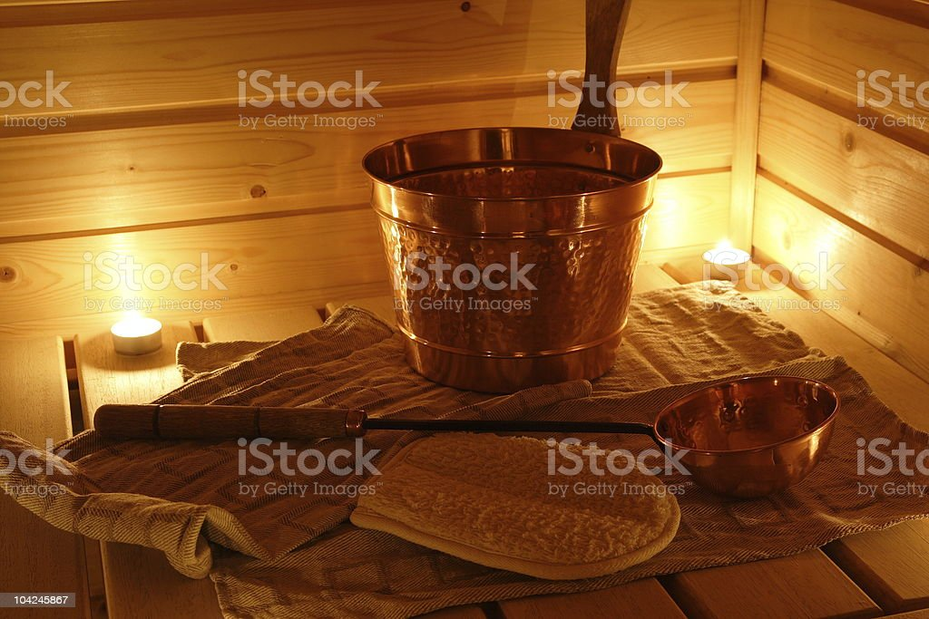 Interior of a Finnish sauna royalty-free stock photo