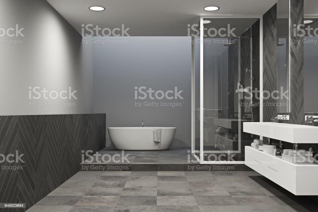 Interior Gris Cuarto De Baño Con Suelo De Baldosa Foto de ...